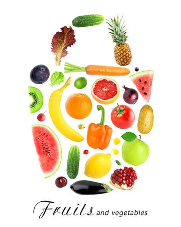 grocery bag: Fresh fruits and vegetables. Grocery bag. Fresh food