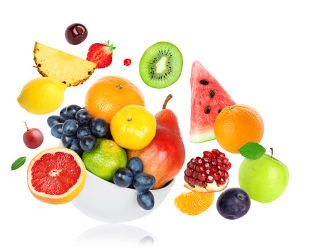 Fresh fruits on white background. Food concept Stock Photo