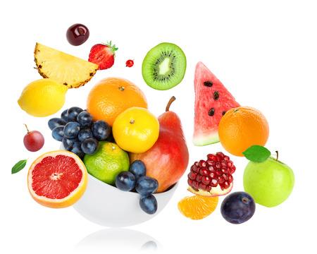 Fresh fruits on white background. Food concept Standard-Bild
