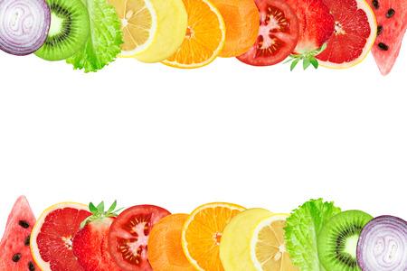 Fruits and vegetables. Fresh color sliced. Healthy food concept. Fresh food