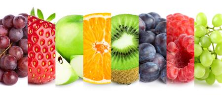 Sammlung von Früchten auf weiß. Frisches Essen. Konzept