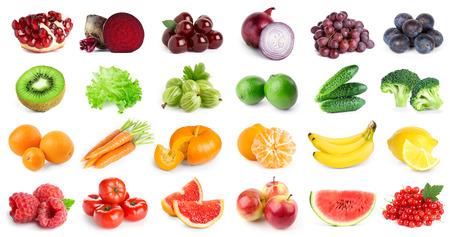 Collection de fruits et légumes sur fond blanc. Nourriture fraîche