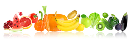 Color fruits and vegetables on white background. Food concept