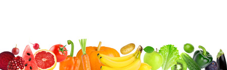 Color fruits and vegetables on white background. Fresh food. Concept