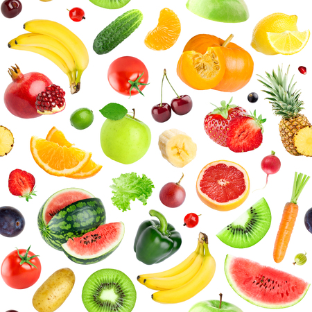 mixed wallpaper: Fruits and vegetables seamless pattern. Background of fresh falling mixed healthy food