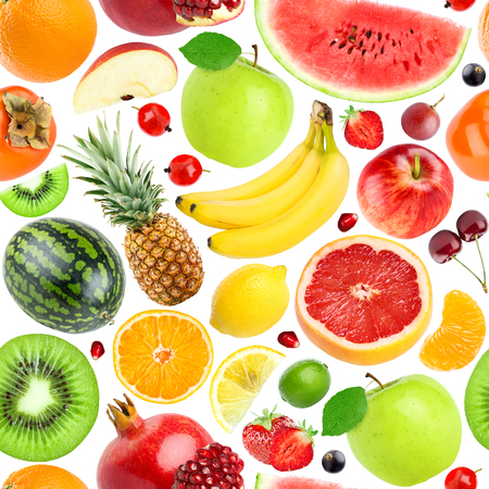 Vruchten naadloos patroon. Achtergrond van verse vallende gemengde vruchten. Gezond eten