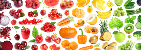Fruits and vegetables. Background of fresh ripe color  food
