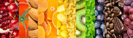 음식 배경입니다. 맛있는 음식의 컬렉션입니다. 과일과 채소 스톡 콘텐츠