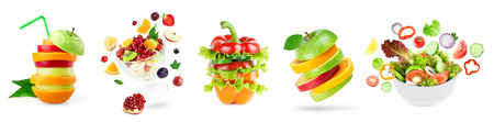 Collection of fresh food. Stack of fruits and vegetables. Fruit and vegetable salad. Vitamins Standard-Bild