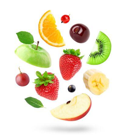 Mixed fruits on white 版權商用圖片