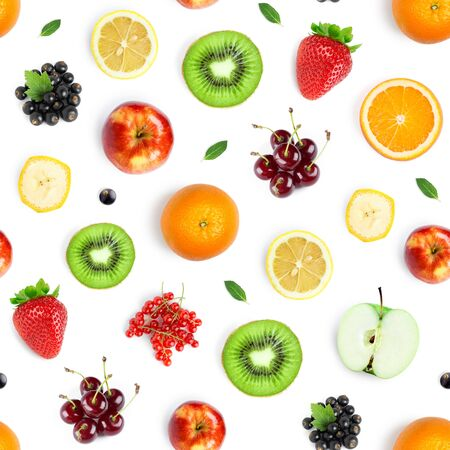Fruits seamless pattern. Food background. Top view. 版權商用圖片