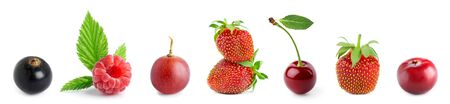 Fruits. Collection of sweet berries on white background