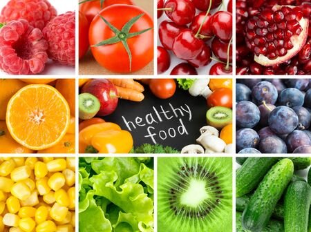 Background of fresh fruits and vegetables. Healthy food. Mixed color food.
