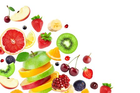 Mixed fruits on white background. Falling fruits. 版權商用圖片