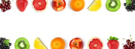Mixed fruits. Fresh food. Top view 版權商用圖片