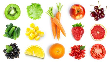 Collection of fruits and vegetables on white