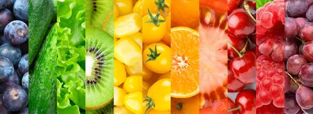 Bayas, verduras y frutas coloridas.