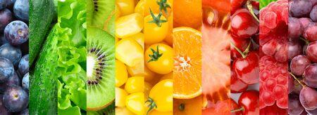 Buntes Obst, Gemüse und Beeren.