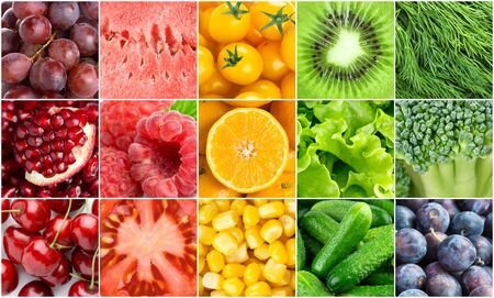 Colorful fruits, vegetables and berries.
