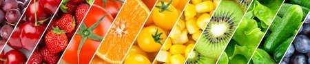 Background of fruits, vegetables and berries. Fresh food 版權商用圖片