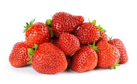 Strawberry fruit on white background. Ripe berries