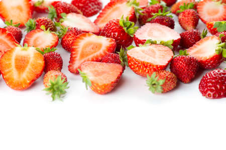 Strawberry on white background. Ripe berries