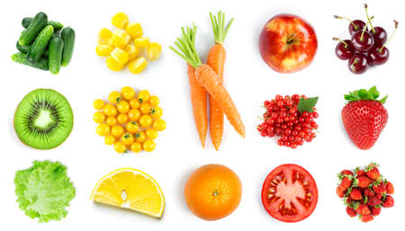 Collection of fruits and vegetables on white background. Top view. Fresh food
