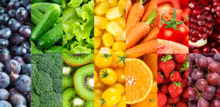 Fruits and vegetables. Background of fresh ripe color food. Food background
