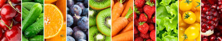 Fruits and vegetables. Collage of fresh food