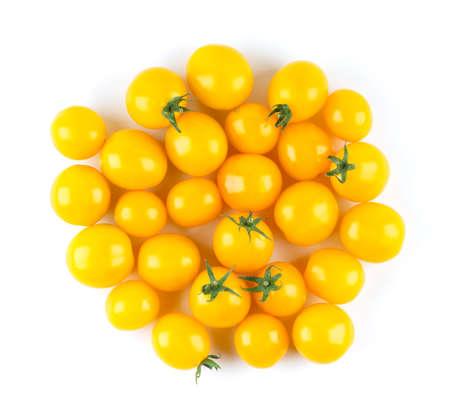 Yellow tomatoes on white background. Top view 版權商用圖片