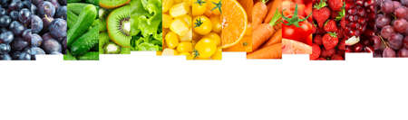 Collage of color fruits and vegetables. Fresh food