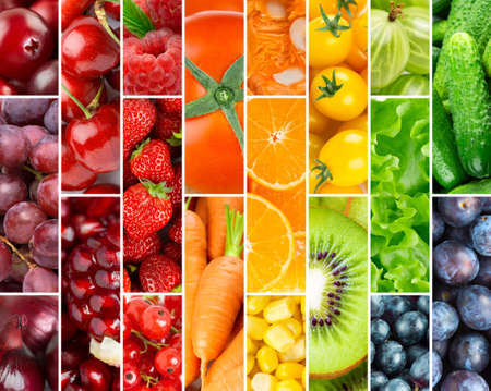 Background of fresh ripe color fruits and vegetables. Food background