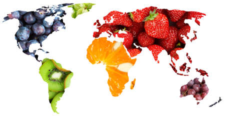 Fruits. World map. Fresh food. Concept