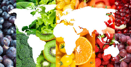 Fruits and vegetables. Food background. World map