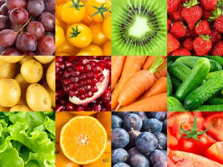 果物や野菜の背景。生鮮食品