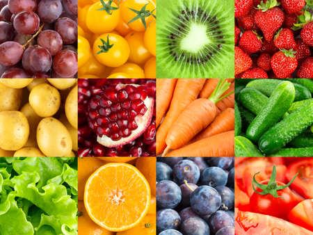 Background of fruits and vegetables. Fresh food