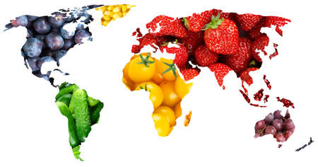 Fruits and vegetables. World map. Fresh food. Concept