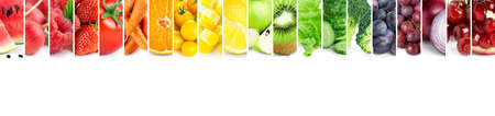 Fruits and vegetables. Collage of fresh ripe food. Food concept