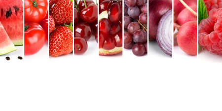 Fresh mixed fruits and vegetables. Background of ripe food. Red fruits