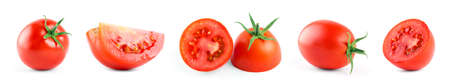Tomatoes on white background. Collection