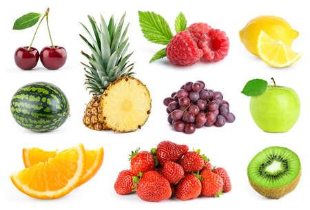 Collection of fruits on white background. Fresh color food. Apple, orange, strawberry, lemon, cherry, kiwi, pineapple, grape, watermelon and raspberry.