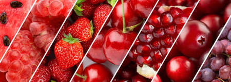 Fruits. Background of fresh food. Red fruits
