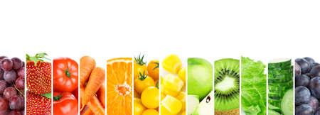 Fruits and vegetables. Fresh color food Imagens