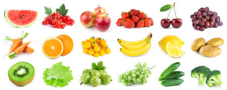 Collection of color fruits and vegetables on white background. Fresh food Foto de archivo