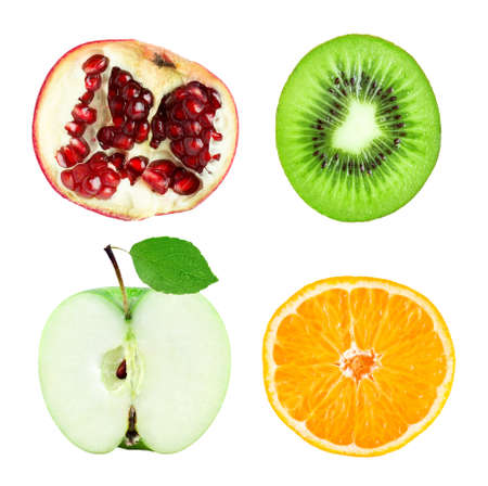 Collection of fruit slices isolated on white background. Fresh food Imagens