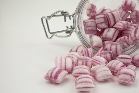 peppermint candy: red and white peppermint candy in a jar Stock Photo