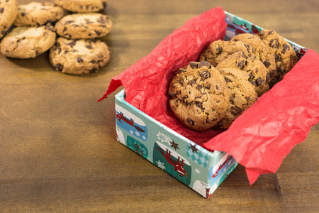 chocolate chip cookies: chocolate chip cookies in a box Stock Photo