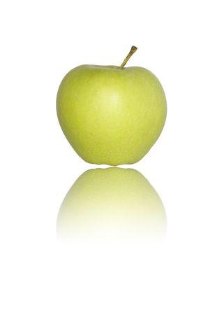 Green apple full isolated on white.