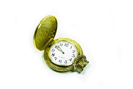 vespers: Old watch on white Stock Photo
