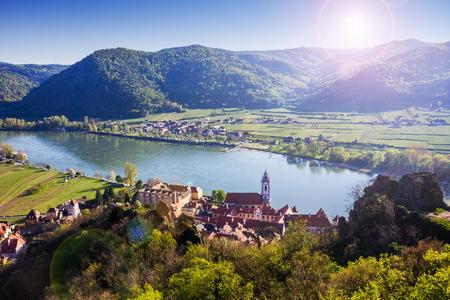 Durnstein, Wachau 계곡입니다. 오스트리아. 스톡 콘텐츠